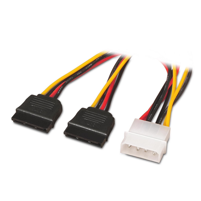 Color Negro AISENS A131-0161 MOLEX 4pin//M-2xSATA Hembra, 20 cm Cable SATA Alimentaci/ón